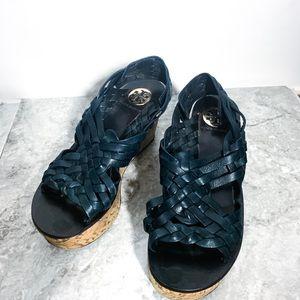 Tory Burch Killian Woven Wedge Sandals